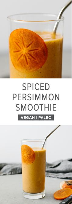 This persimmon smoothie is the perfect smoothie for fall. Made with persimmons, banana, ginger, cinnamon and cloves, it's slightly spiced and deliciously sweet. #persimmon #persimmonrecipes #smoothie #smoothierecipes