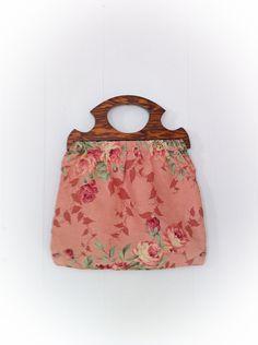 Vintage Knitting Bag Tote Purse Pink Roses Wooden Handle - Etsy.