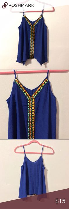 Boho hippie Aztec flowy tank top Cute boho hippie style draped & flowy tank top. Pretty multicolored taping in front. Brand new and never worn. Labels have been removed and not from Forever 21, just tagged for exposure. Lightweight breezy fabric. Best fits a size medium Forever 21 Tops Tank Tops