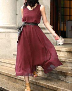 JS126 Burgundy silk spring dress.