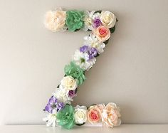 Large Floral Letter Flower Letter Nursery Decor by BegoniaRoseCo Baby Letters, Flower Letters, Nursery Letters, Flower Wall, Nursery Wall Art, Nursery Decor, Nursery Monogram, Chic Nursery, Floral Nursery