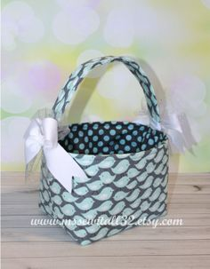Aqua  Gray Cute Birds and Dots Fabric Easter by MsSewItAll32, $18.00