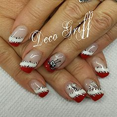 ongle gel rouge silver avec deco peinture noir et blanc ongle deco griff 39 pinterest. Black Bedroom Furniture Sets. Home Design Ideas