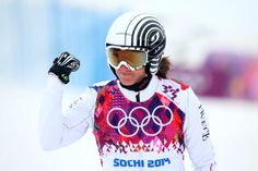 Ophelie David of France completes her run in the Freestyle Skiing Womens' Ski Cross Seeding on day 14 of the 2014 Winter Olympics at Rosa Khutor Extreme Park on February 2014 in Sochi, Russia. Get premium, high resolution news photos at Getty Images Freestyle Skiing, Riders On The Storm, Sports Stars, Winter Olympics, Snowboarding, Womens Ski, David, France, Running
