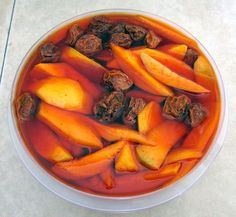 PICKLED MANGO--HAWAII STYLE! Here's the recipe:    5 C Water  4 C Sugar  2 C Vinegar  1/4 C Hawaiian rock salt  1/4 C Li hing mui powder    * Mix in a pot and bring to a boil. Take off burner and let cool (you can stick it in the freezer to cool it quicker)    * Add sliced mango and li hing mui seed and refrigerate for at least 3 days for pickling.    * ENJOY!!!!