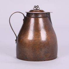 Hull House Chicago hammered copper one-handled pitcher with fantastic curled copper top lid. Pictured in the book Chicago Silver by Sharon Darling x x SOLD Bungalow Living Rooms, Bungalow Interiors, Craftsman Style Decor, Hull House, William Morris Art, Vintage House Plans, Hammered Copper, Brass, Craftsman Bungalows