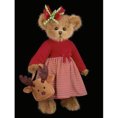 """Bearington - Christmas Holiday Bear """"Reagan Reindeer"""" - 14 Inches and Retired"""