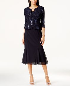 Alex Evenings Sleeveless Sequin Midi Dress and Jacket -- LOVE this one = limited sizes; only in this color