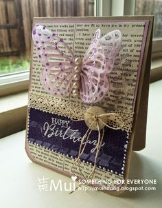 Butterfly die - elegant eggplant,white embossing, liquid pearls and pearls on butterfly, Sahara sand