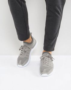 Stradivarius Knitted Sneakers In Gray - Gray