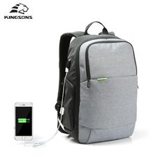 Unisex External USB Charge 15.6'' Laptop Backpack Anti-theft Notebook Bag  Business Bag