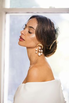 Colour: polished gold-plated brassPlease note each and every pair of earrings is un. Wedding Goals, Dream Wedding, Wedding Day, Flowers In Hair, Wedding Accessories, Bridal Hair, Gold Earrings, Marie, Wedding Hairstyles