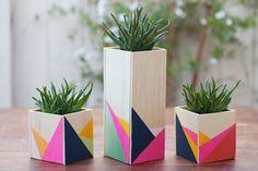 17 geometric wood centerpiece