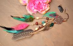 Gypsy+Dream+Catcher+Long+Feather+earring/ClipIn+by+TurquoiseCrush,+$20.00