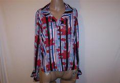 HILLARD & HANSON Shirt Blouse M Red White Blue Ruffled Button Front Sheer NEW #HillardHanson #ButtonDownShirt #Career