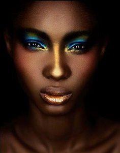 stunning gold lips, blue eye makeup - Google Search