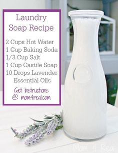 Homemade Liquid Laundry Soap - Borax Free Homemade Laundry Soap - Borax Free I love my essential oils and making my own soaps and cleaners for my home. My home smells fresh and my boys' allergies aren't out of control bc of the toxic cleaners. Homemade Cleaning Products, Cleaning Recipes, Natural Cleaning Products, Cleaning Hacks, Natural Products, Diy Hacks, Household Products, Cleaning Supplies, Frugal Recipes