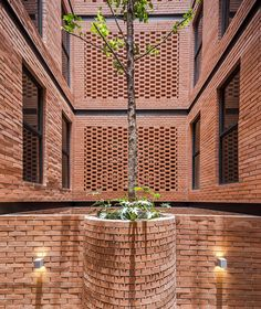 Brickwork panels alternate with gaps up the sides of this project in Mexico City, which HGR Arquitectos organised around a line of patios at the centre. Brick Design, Facade Design, Exterior Design, Brick Art, Brick And Wood, Brick Masonry, Brick Facade, Brick Architecture, Architecture Details