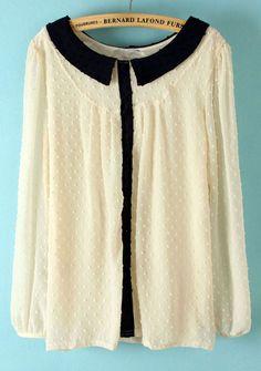 Black + white embellished lace blouse