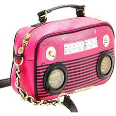 KITSCH BOOM BOX CROSSBODY ❤ liked on Polyvore featuring bags, handbags, shoulder bags, cross body, pink handbags, pink cross body purse, crossbody shoulder bags and betsey johnson