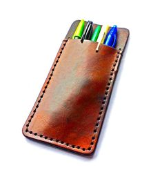 Кожен калъф за химикалки/ Customizable Leather Pencil Pouch or Pocket Protector $48.72 MXS