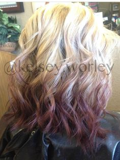 Love this blonde to burgundy reverse ombré! kelsey.worley