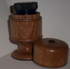 Siberian Elm lidded box in clean satin wipe on poly. Holds bottle of (Private Reserve) fountain pen ink