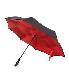 This Red & Black Reverse-Close Umbrella is perfect! #zulilyfinds
