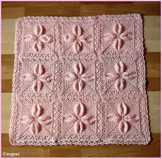 Free knitting pattern for a counterpane motif knit in the round with leaves and a lace border. Crochet Bedspread, Crochet Blanket Patterns, Baby Knitting Patterns, Baby Blanket Crochet, Stitch Patterns, Baby Shawl, Knitted Baby Blankets, Knitted Blankets, Arm Knitting