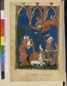 Nouvelle acquisition française 16251, fol. 22v, Annonce aux Bergers livre d'images de madame marie hainaut (belgique) vers 1285-1290