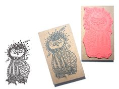Stamp owl in zentangle design. Designed by an by artistamps1