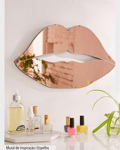 This is the cutest home decor /rose gold / Fashion home decor // modern home decor // wall decor // women's home decor // makeup decor // makeup // spring decor // Urban Outfitters Lips Mirror Handmade Home Decor, Home Decor Items, Home Decor Accessories, Diy Home Decor, Copper Accessories, Rose Gold Bedroom Accessories, Bathroom Accessories, Sala Glam, Mirrors Urban Outfitters