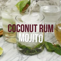 Our coconut rum mojito is an excellent Summer drink made to remind you of warm sunshine, sandy beaches, and tropical palm trees. #rum #coconut #coconutrum #mojito #alcoholic #tropical #lime #fruity #cocktail #berlyskitchen Coconut Rum Drinks, Spiced Rum Drinks, Coconut Mojito, Non Alcoholic Drinks, Cold Drinks, Summer Drinks, Party Drinks, Cocktail Drinks, Fun Drinks