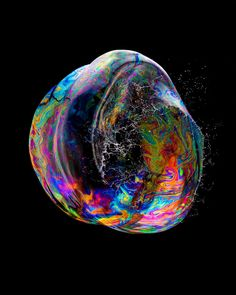 High speed flash photography of bubble bursting.