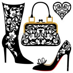 Illustration of Black silhouettes of women shoes collection and ornaments vector art, clipart and stock vectors. Silhouette Cameo, Silhouette Portrait, Woman Silhouette, Silhouette Projects, Paper Cutting, Shoe Art, Digi Stamps, Kirigami, Vector Art