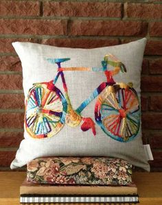 These pillows were inspired by a friend of mine who does triathlons. He is an amazing athlete and one of the sports involved in these races is Más Hand Embroidered Pillow / Bicycle / Bike by DesignsByCooper You can make your own DIY pillow cover in just Sewing Pillows, Diy Pillows, Decorative Pillows, Cushions, Throw Pillows, Crewel Embroidery, Ribbon Embroidery, Embroidery Designs, Diy Pillow Covers