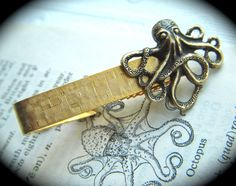 Tie Clip Octopus Brass & Gold Mixed Metals Rustic by CosmicFirefly, $15.00