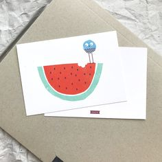 If you love watermelons as much as this cheeky little bird check out this postcard. Postcards, Watermelon, Playing Cards, Etsy, Love, Vintage, Craft Gifts, Schmuck, Amor