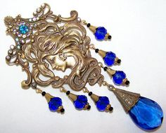 Lovely Art NOUVEAU Ornate Cameo Blue Czech Glass Vintage Brooch