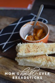 These breadsticks were a family staple growing up. I've finally figured out how not to destroy the yeast when cooking, so now it's a staple in our house, too. They're incredibly e… Snack Recipes, Snacks, Rolls, Appetizers, Favorite Recipes, Mom, Cooking, Breakfast
