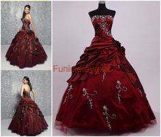 Hot Sale Ball Gown Strapless Sleeveless Beads Wine Red Burgundy Formal Party Pageant  Evening Gown Long Prom Quinceanera Dresses $119.00