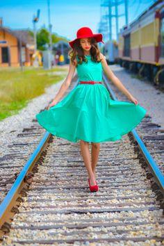 Vintage Photoshoot. Train tracks. Mint dress.