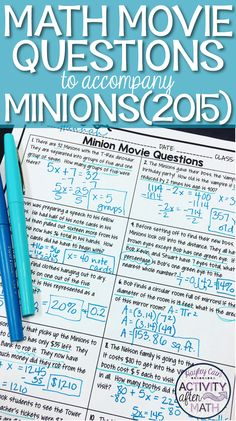 Math Movie Questions to accompany the movie Minions(2015). This is a great end of the year activity or substitute plans that includes topics on one and two step equations, fractions, decimals, and percents, area, and volume.
