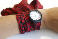 DIY leopard print scarf watch / PAP lenço com padrão de leopardo como pulseira de relógio