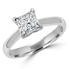 Majesty Diamonds CT Classic Princess Cut Solitaire Diamond Engagement Ring in White Gold, Size Princess Cut Rings, Princess Cut Engagement Rings, Engagement Wedding Ring Sets, Princess Cut Diamonds, Diamond Engagement Rings, Round Cut Diamond Rings, Diamond Anniversary Rings, Diamond Cuts, Wedding Rings Solitaire