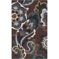 Artistic Weavers Formby Rectangular Brown Floral Tufted Area Rug (Common: 5-ft x 8-ft; Actual: 5-ft x 8-ft)