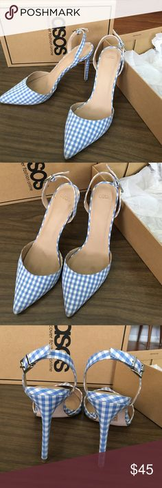 ASOS Blue Gingham Checkered Heels Adorable blue gingham sling back heels from ASOS. Kept in box, only worn 2x. ASOS Shoes Heels