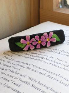 Pink and White Flower Barrette 2.5in 3 Flower Pattern by EmilyMah