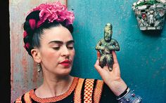 """Obsession, danger and absolutely no sex: Why every woman needs a muse"" by Kim Devereux via The Telegraph  Kahlo with an Olmeca figurine, Coyoacán 1939"