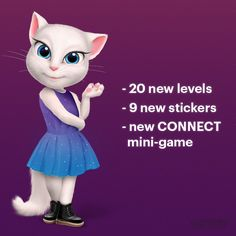 Beyond excited! My Talking Angela app has a great new update: NEW CONNECT mini-game, NEW levels, NEW stickers and NEW MARS GALACTIC outfit ♥ xo, Talking Angela #TalkingAngela #MyTalkingAngela #LittleKitties
